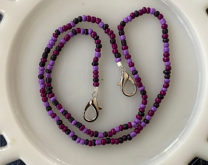 Face Mask Beaded Chain Multi Purple