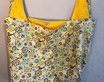 Yellow Bird Floral Reversible Market Bag