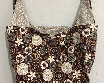 Reversible Market Bag Brown and Grey Floral