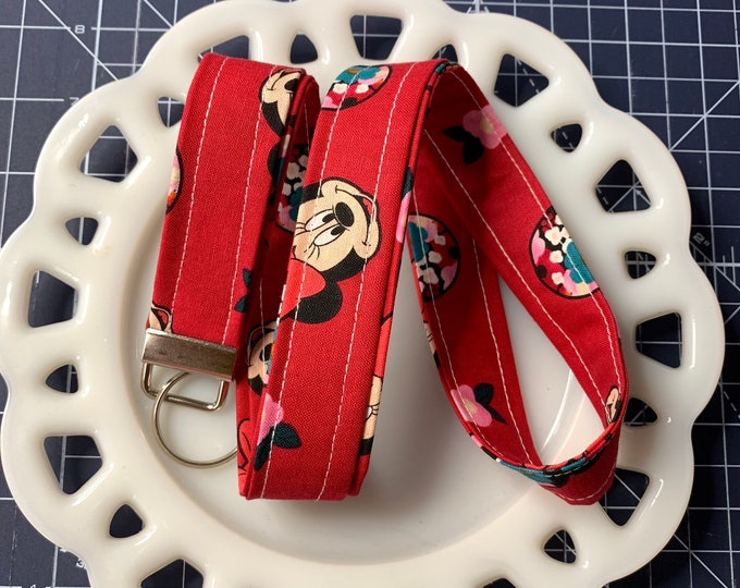 Raspberry Minnie Mouse Lanyard