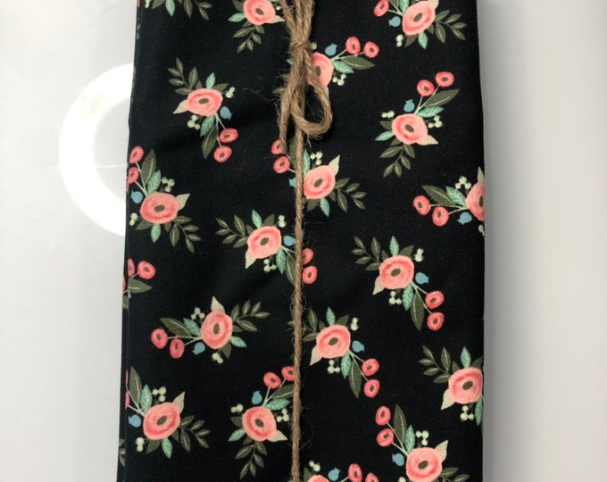 Black and Pink Floral  Cloth Napkin