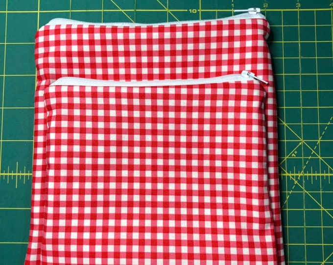 Reusable Snack and Sandwich Bag Red Checker