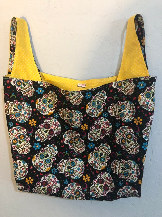 Day of the Dead Sugar Skulls Reversible Market Bag