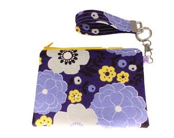 Purple Floral Carly Wristlet