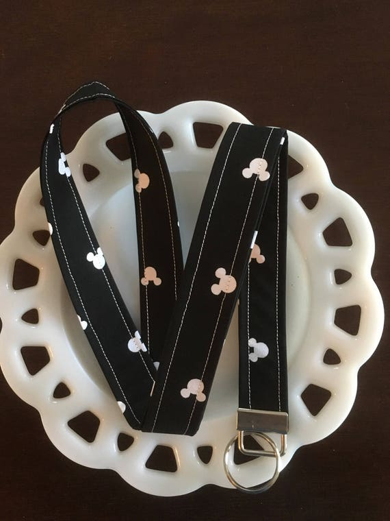 Black and White Mickey Mouse Lanyard