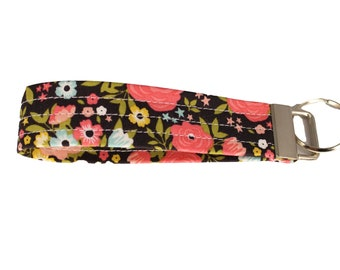 Dark Brown and Pink Floral Fabric Keychain