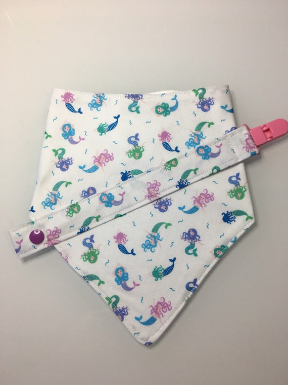 Mermaid Baby Bandana Bib and Pacifier Clip Set