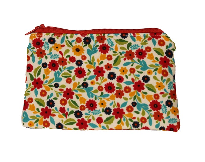 Red and Navy Floral Coin Purse