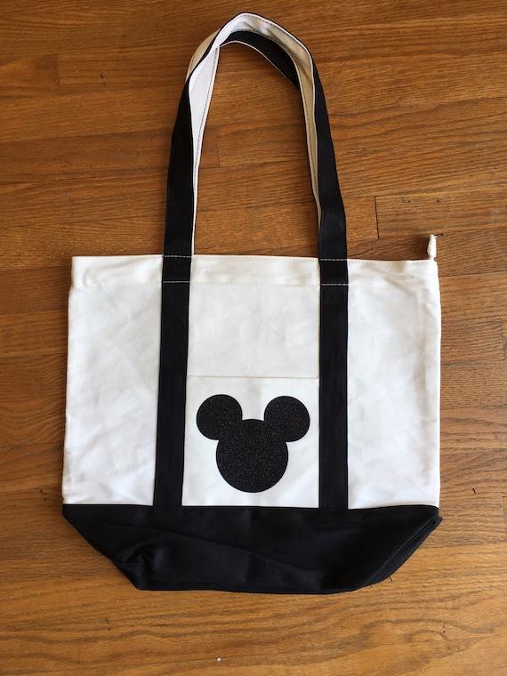 Black Glitter Mickey Mouse Tote