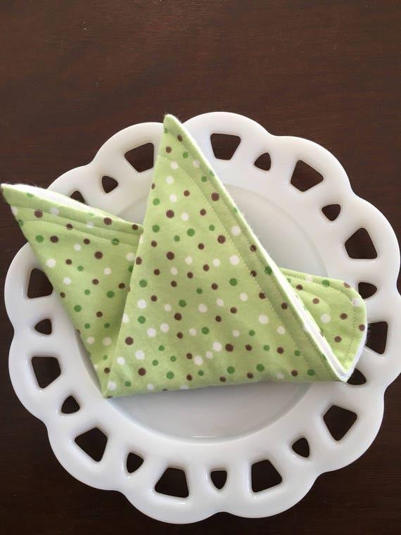 Mint Green Polka Dot Flannel Washcloths
