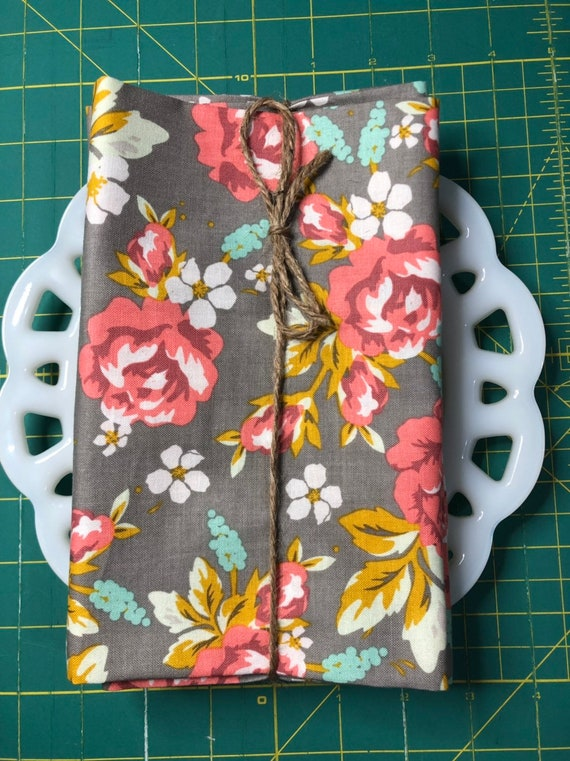Taupe Floral Cloth Napkin