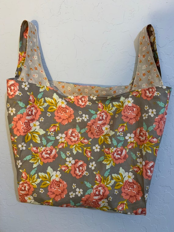 Taupe with Rose Floral Reversible Market Bag