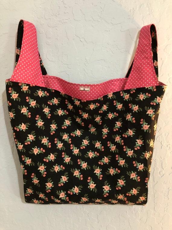 Black and Pink Floral Reversible Market Bag
