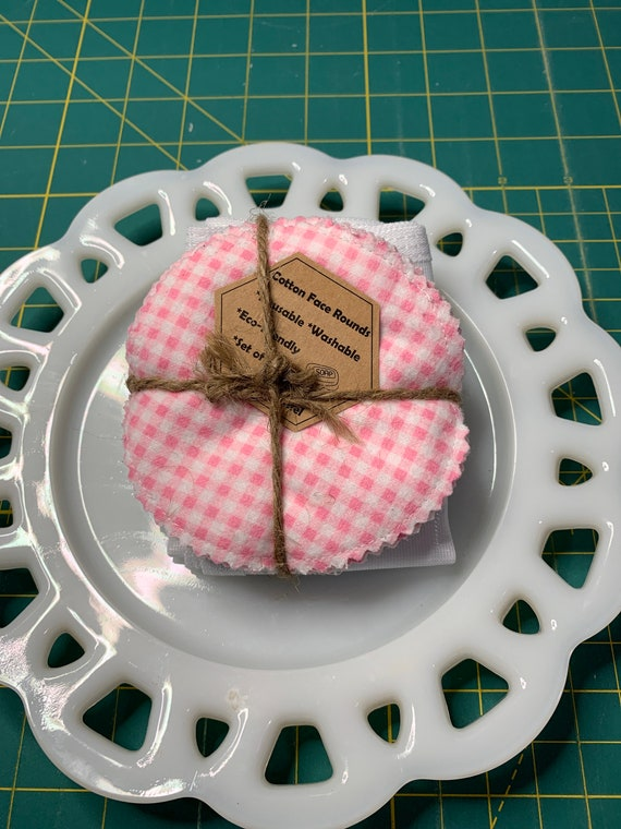 Reusable Cotton Rounds Pink Gingham