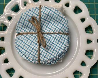 Reusable Cotton Rounds Blue Grid