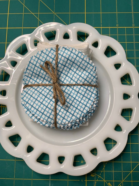 Reusable Cotton Rounds Blue Grid