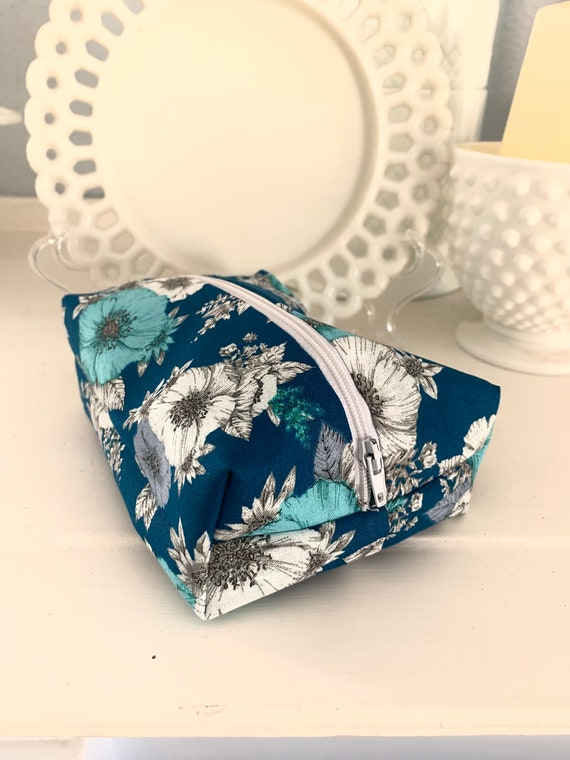 Teal and Grey Floral Cosmetic Case