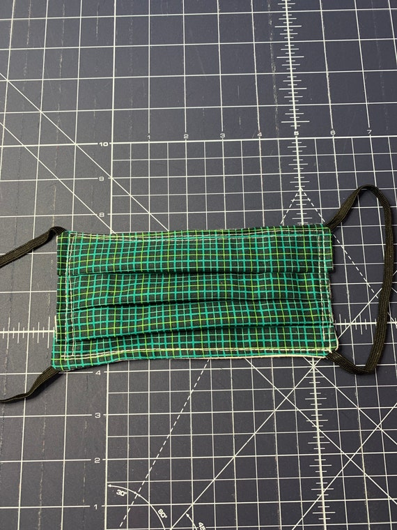 Face Mask Green Grid