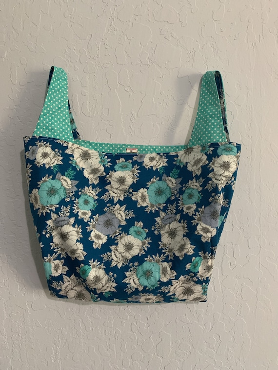 Teal Blue and Aqua Floral Reversible Market Bag