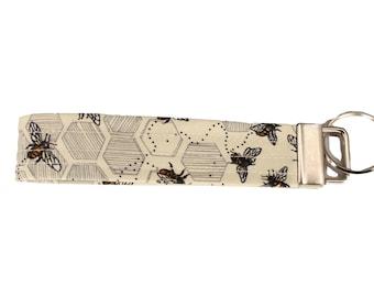 Cream Beehive Fabric Keychain