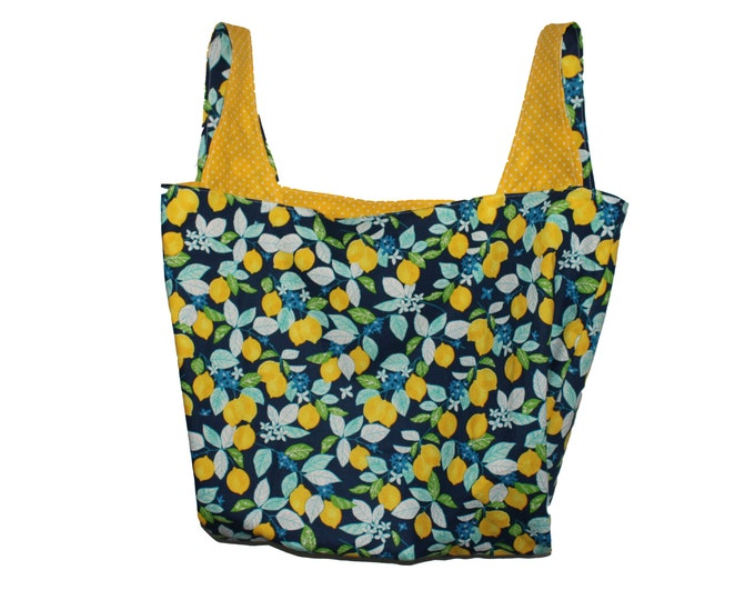 Blue Lemon Reversible Market Bag