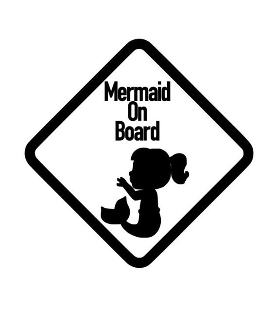 Car Window Sticker Mermaid On Board WHITE VINYL