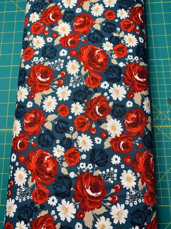 Red and Blue Floral Cloth Napkin