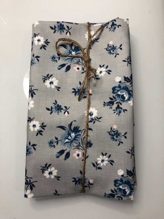 Grey with Navy and Pink Floral Cloth Napkin