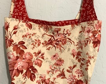 Reversible Market Bag Red and Cream Toile