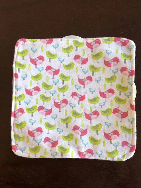 Pink  and Turquoise Floral Butterfly Flannel Washcloths