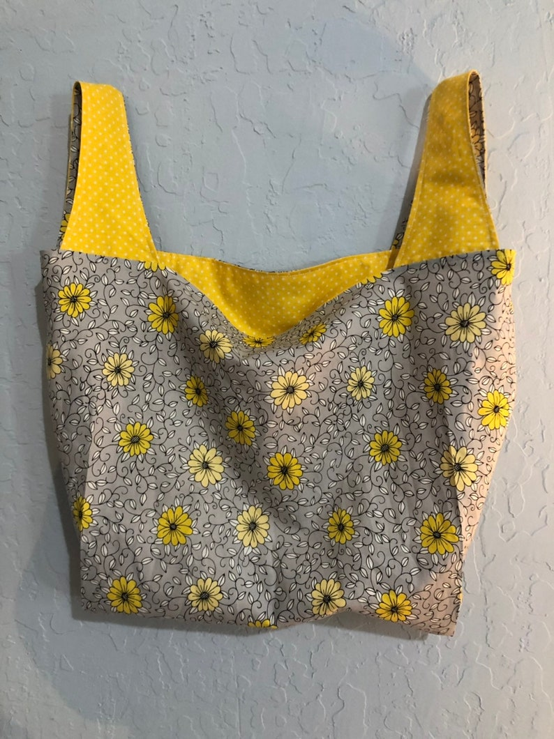Gray and yellow floral Reversible Market Bag