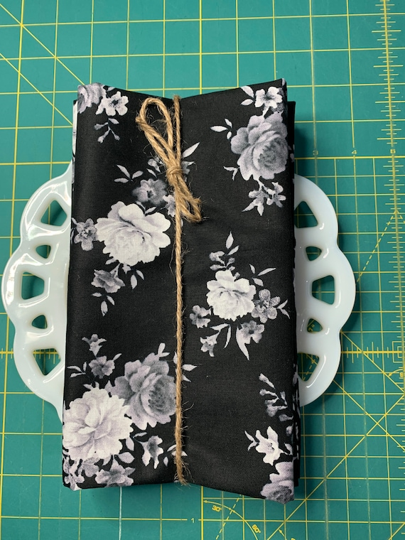 Black and White Floral Cloth Napkin