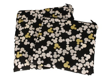 Reusable Snack and Sandwich Bag Black and Gold Mickey