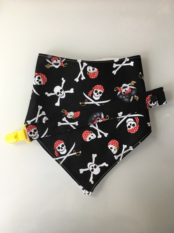 Pirate Baby Bandana Bib and Pacifier Clip Set