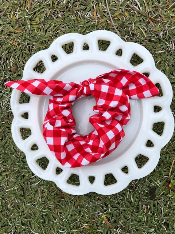 Bow Tie Scrunchie Red Gingham