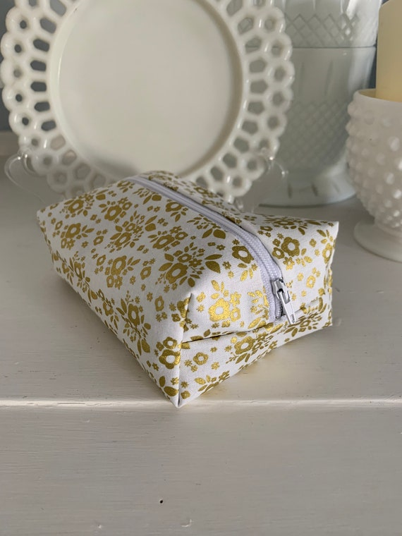 Golden Floral Cosmetic Case
