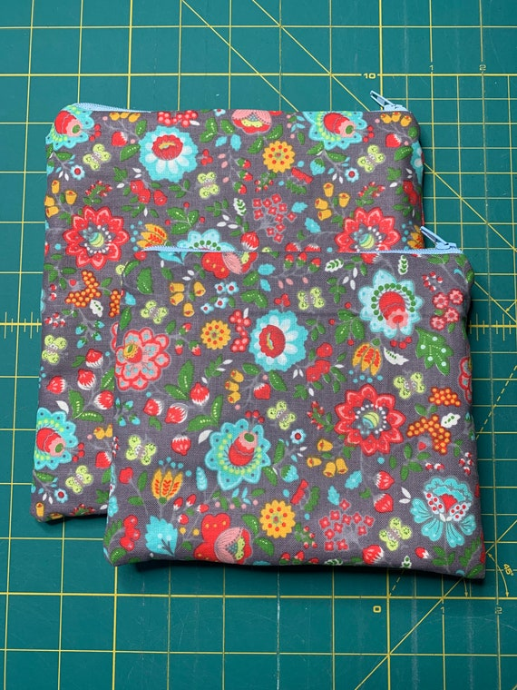 Reusable Snack and Sandwich Bag Grey Fiesta Floral