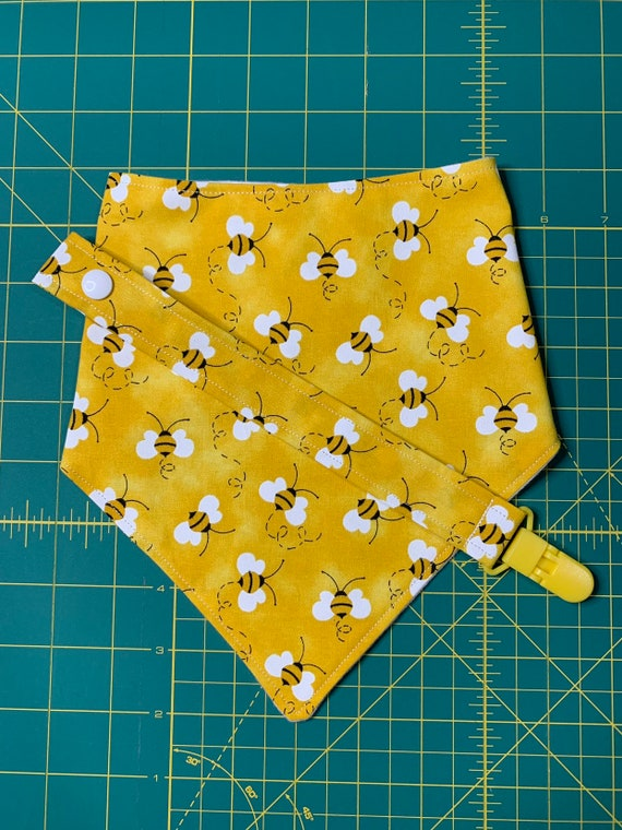 Bunble Bee Baby Bib and Pacifier Clip Set
