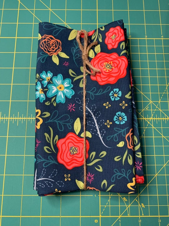 Navy Blue Floral Cloth Napkin