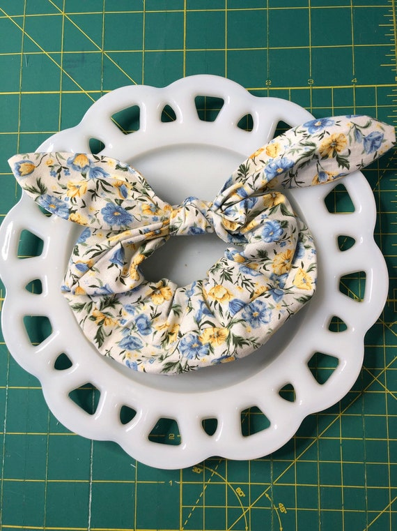 Bow Tie Scrunchie Yellow and Blue Floral
