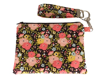 Brown and Pink Floral Carly Wristlet