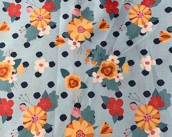 Aqua Flower Garden Cloth Napkin