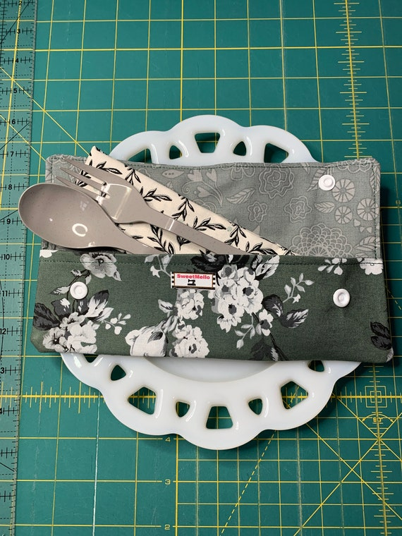 Green Floral Cutlery Case