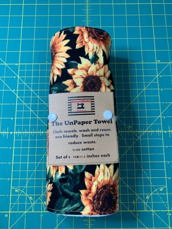 Reusable Unpaper Towel Black Sunflower
