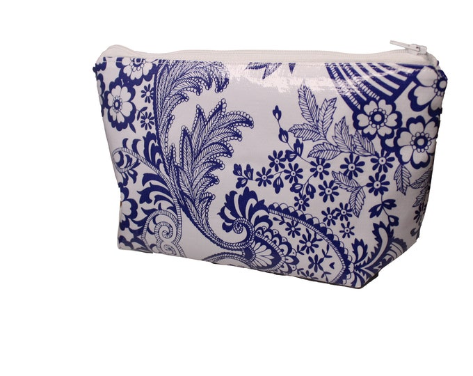 White and Navy Floral Violet Bag