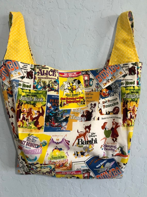 Reversible Market Bag Vintage Disney Movie Posters