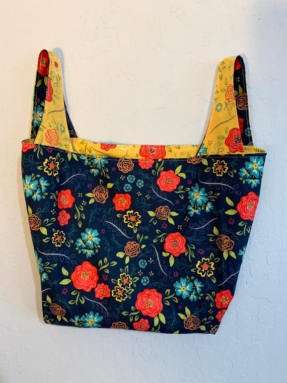 Nany Blue and Yellow  Floral Reversible Market Bag
