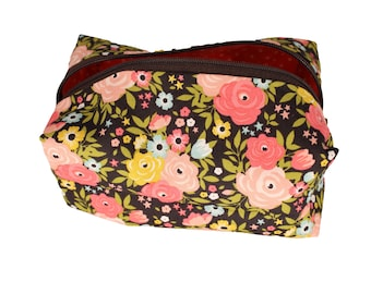 Dark Brown and Pink Floral Cosmetic Case