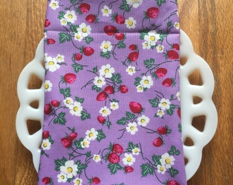 Lavender and Strawberries Cloth Napkin