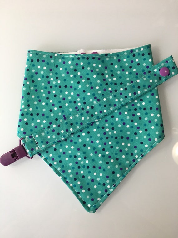 Turquoise Polka Dot Baby Bandana Bib and Pacifier Clip Set